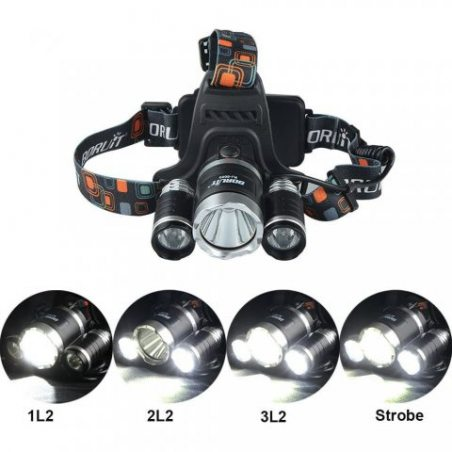 GRDE Lampe Frontale Inclinable 3 Torche LED Puissante Headlight Rechargeable Headlamp pour vtt Cycliste, Randonne,Caverne,Cha