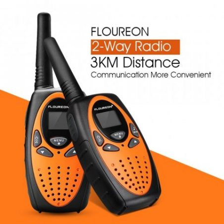 Floureon Une paire 8 canaux Talkie Walkie UHF400-470MHZ 2-Way Radio Gamme de 3 kilomètres Interphone pour en contact avec enf