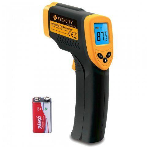 Etekcity 774 Thermomètre Infrarouge Sans Contact Laser de -50°C à 380°C, Pile fournie, Ecran LCD Rétroéclairé, Garantie de 24