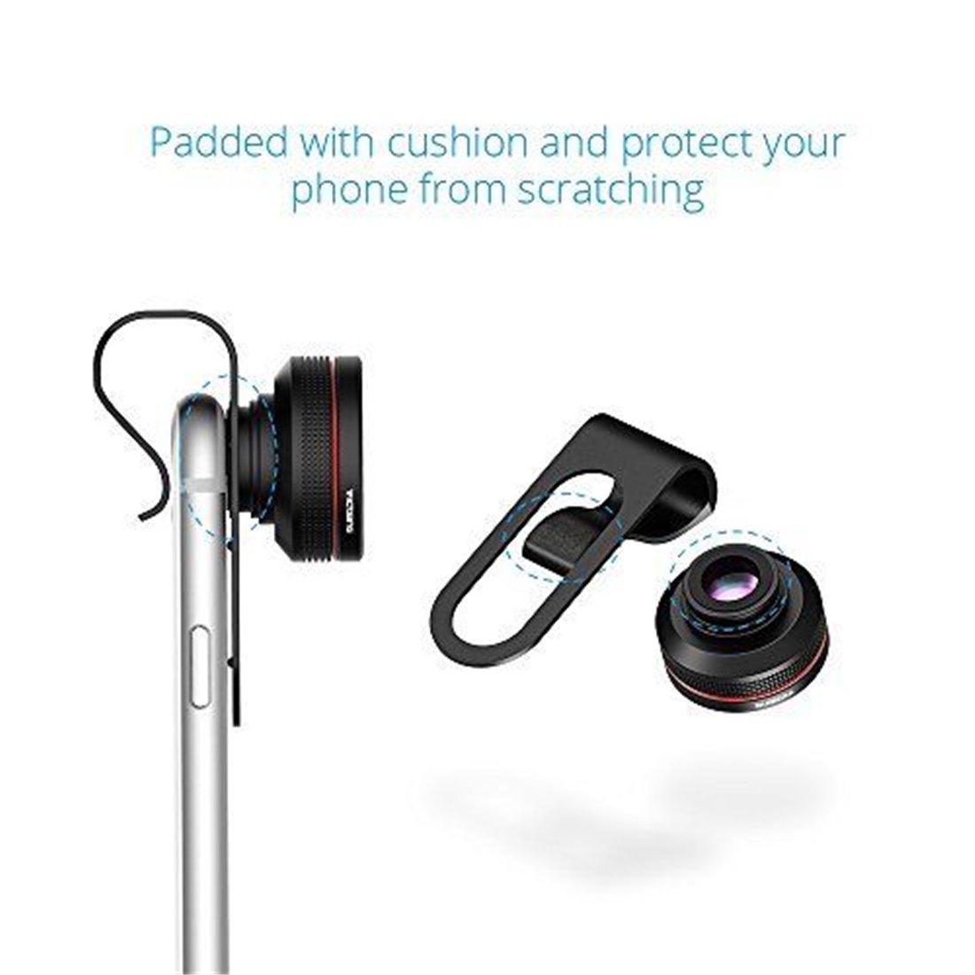 3 en 1 Kit Objectif Téléphone Universel VicTsing Objectif Smartphone Fisheye Suprême 180°+ 12x Objectif Macro + 24x Super Mac