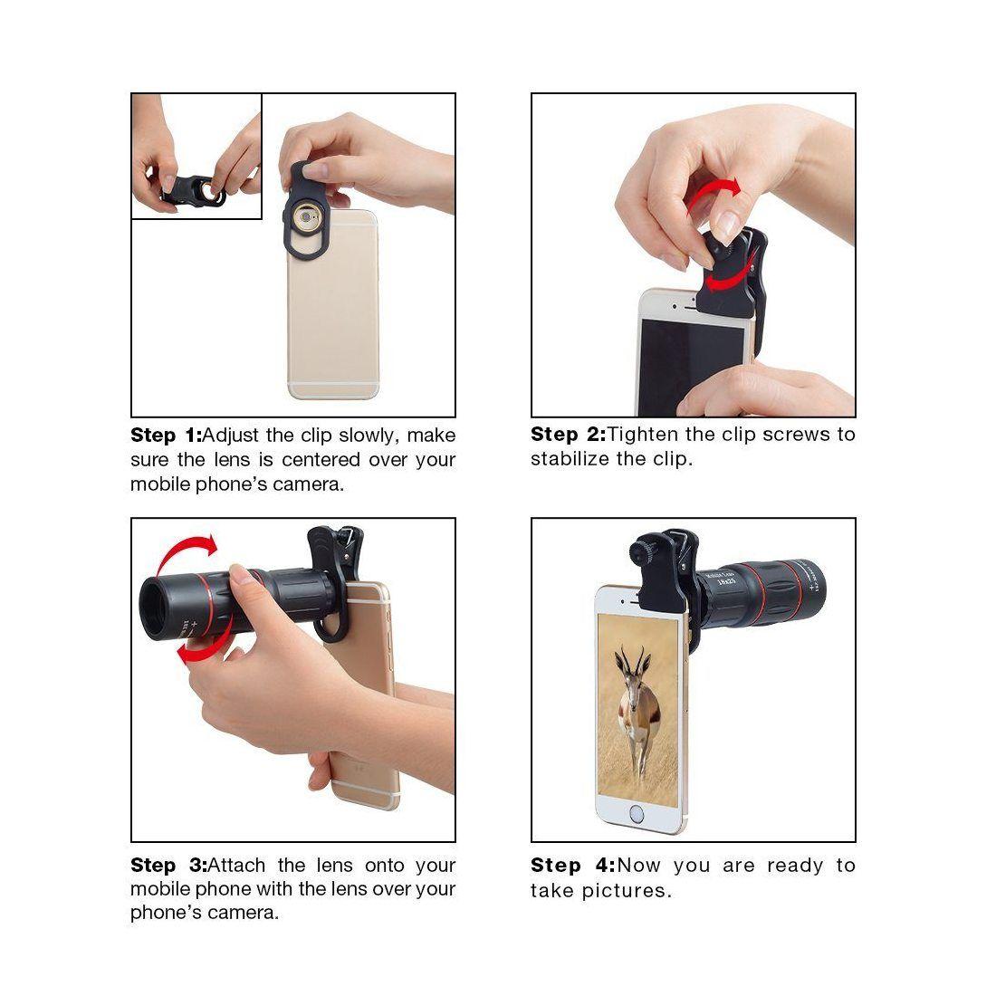 Apexel Universal 18X Clip-On Téléphoto Télescope Appareil photo Téléphone portable Zoom lens pour iPhone X / 8 7 Plus / 6S Sa
