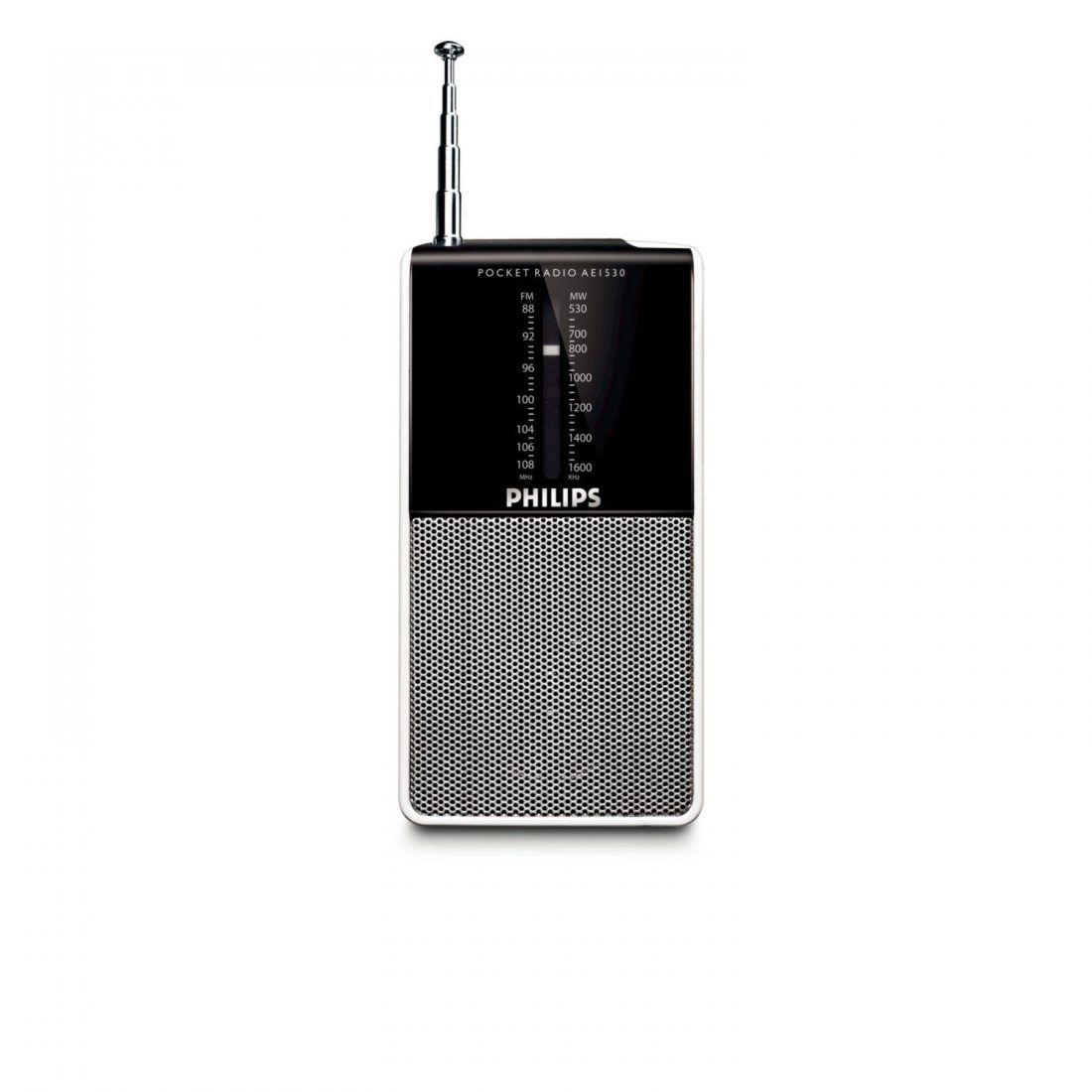Philips AE1530 Radio Portable FM de Poche à Piles (2xLR3) avec Molette Volume, Prise Casque, Simple à Utiliser