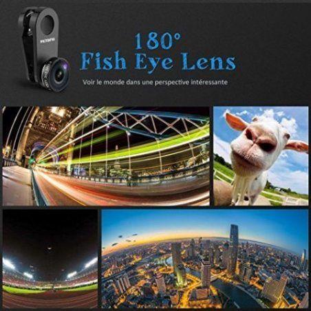 3 en 1 Fisheye VicTsing Kit Objectif Clip-On 180 Degrés Fisheye + 0.65X Grand Angle + 10X Objectif Macro pour iPhone 8, 7, 6,