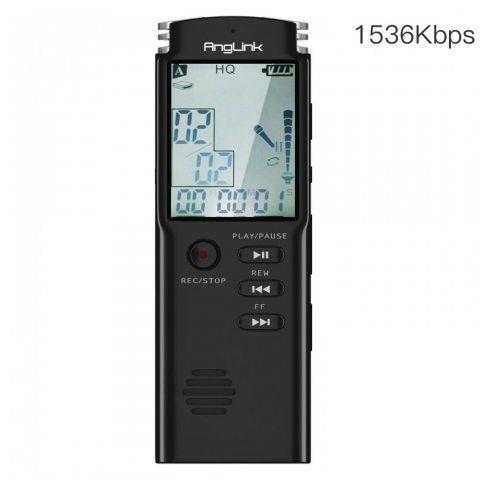 Dictaphone Numérique, AngLink 8Go Enregistreur Vocal Portable,Activation Vocale, Connexion PC, Rechargeable et Lecteur Mp3 av