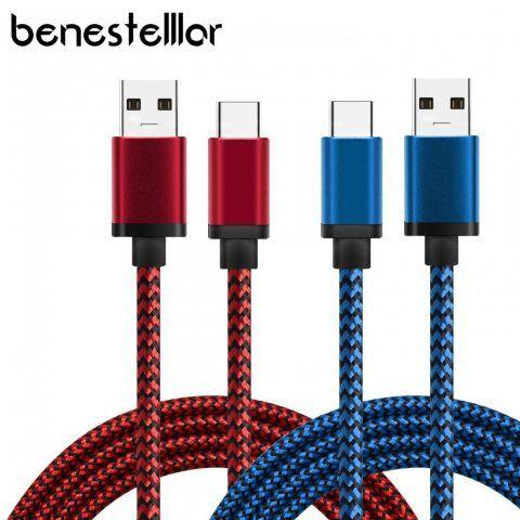 [Lot de 2] Câble USB Type C en Nylon, BeneStellar Haute Vitesse USB 3.1 Type C vers Norme Type A USB 3.0 Câble de Charge pour