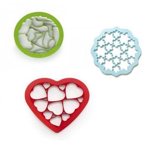 Lot de 3 cookie cutter Lékué - 1 snow + 1 coeur + 1 animals