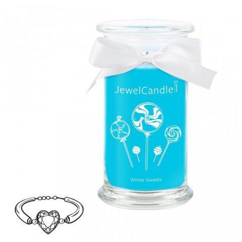 """JewelCandle, bougie parfumée """"Winter Sweets"""" avec un bijou surprise en argent (Bracelet) d'une valeur allant de 10 à 250 €"""
