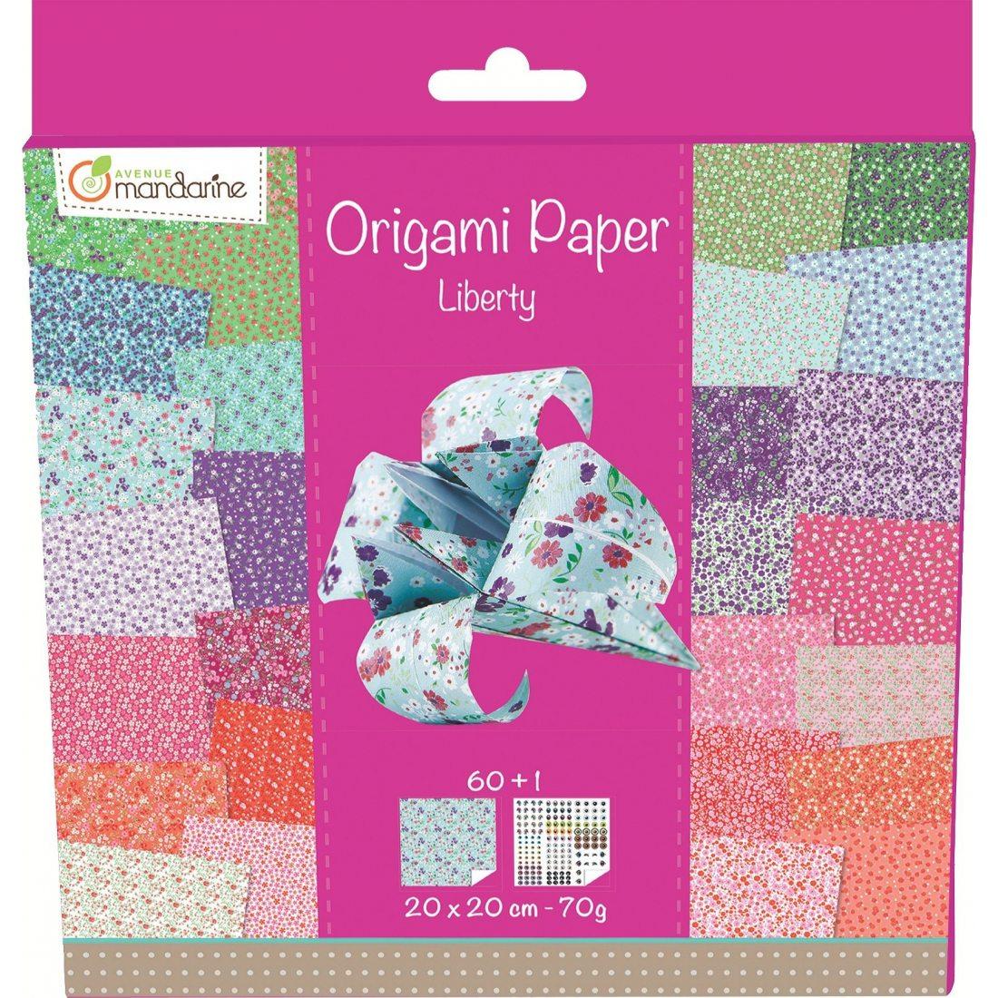 Avenue Mandarine 52509O Une pochette Origami Paper Liberty - 20 x 20 cm - 60 Feuilles - 70 g