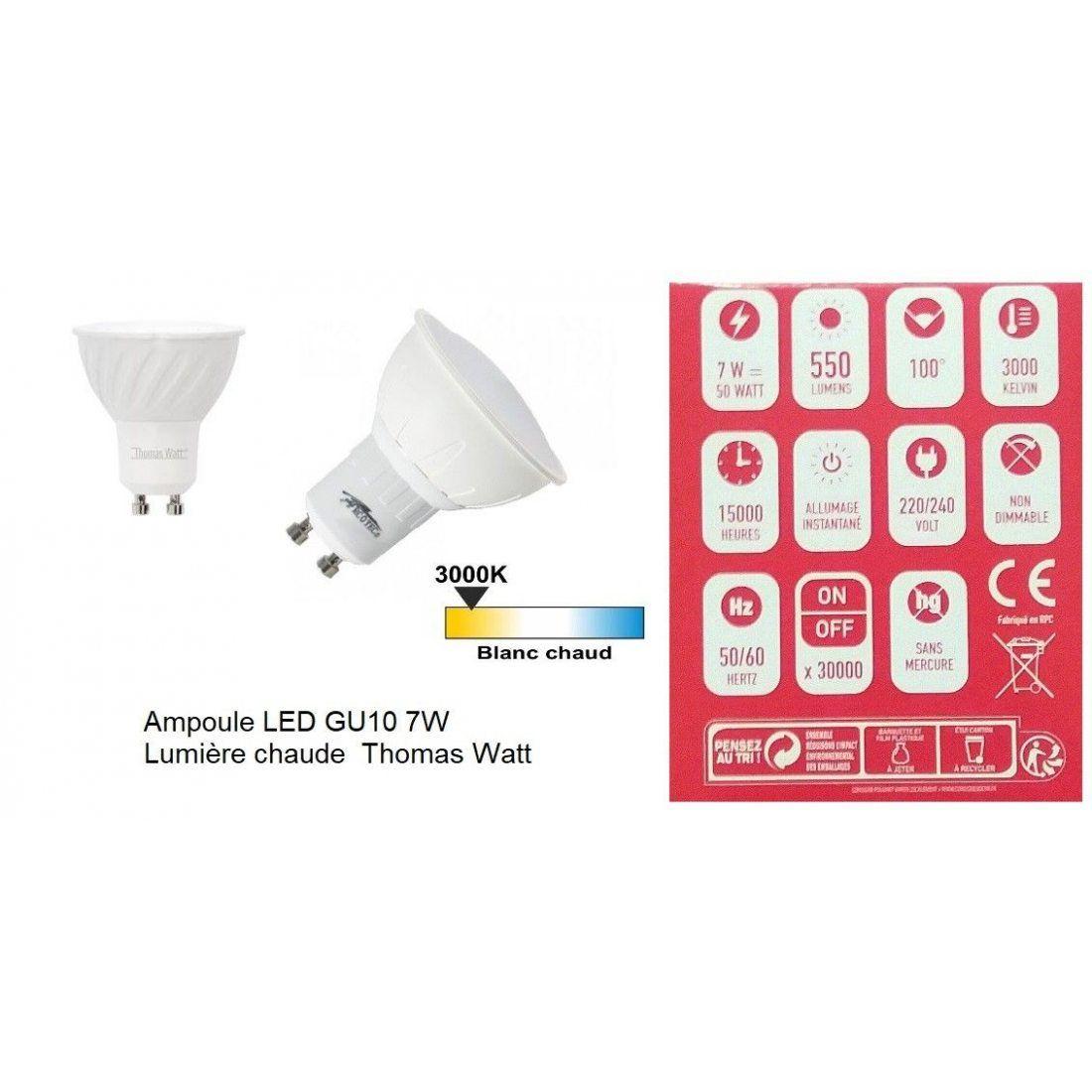 gu10 led lot de 2 ampoules 7w lumi re chaude thomas watt. Black Bedroom Furniture Sets. Home Design Ideas