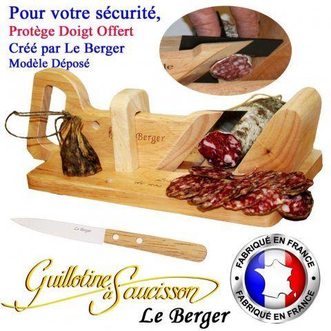 Guillotine à saucisson Traditionnel LE BERGER SECURITE PROTEGE DOIGT OFFERT + Couteau de découpe Offert
