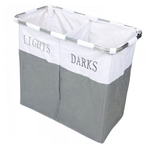 Country Club lumières et foncé pliante Laudry Panier Panier à linge à laver chiffons de stockage, métal, gris/blanc