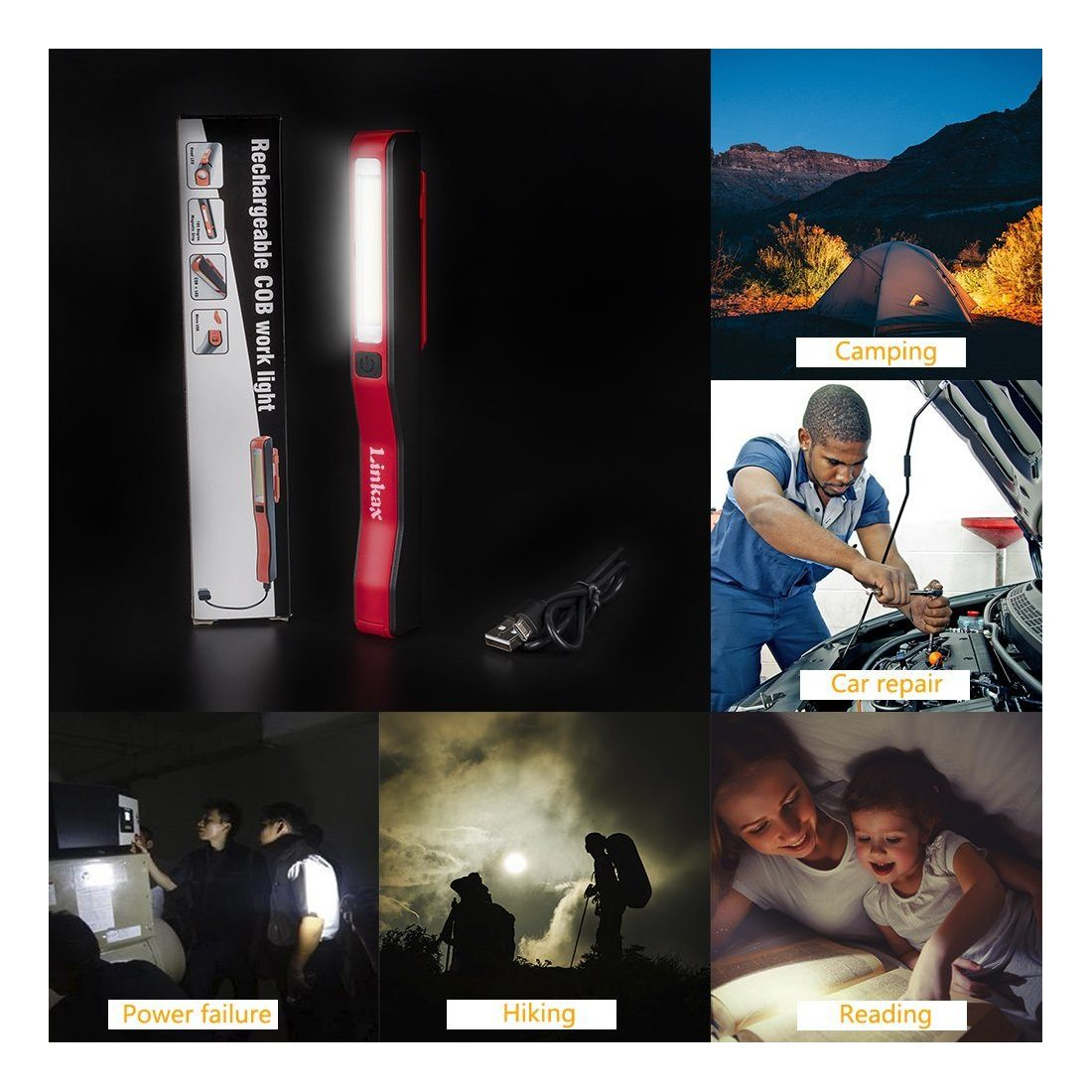 Linkax Lampe de Travail USB Rechargeable Lampe Inspection COB Torche Lampe de poche LED Ultra Puissante Camping Lampe pour Au