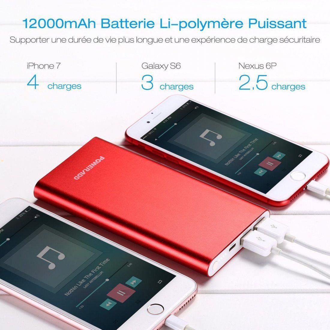 Poweradd Pilot 4GS 12000mAh Batterie Externe portable livré avec un Câble Apple Lightning - Rouge Doré
