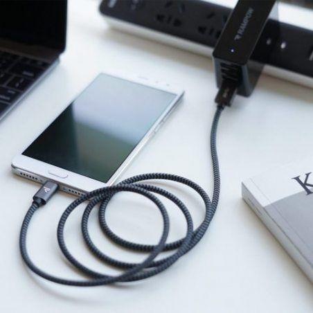 Câble USB Type C à USB 3.0 Rampow - Charge / Synchro Ultime Rapide - Câble USB C Nylon Tressé en Fibre - Garantie à Vie - Con