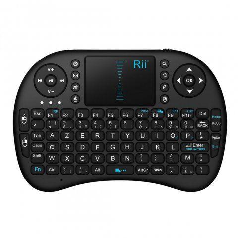 Rii Mini i8 Wireless (AZERTY) - Mini Clavier Française Ergonomique sans Fil avec Touchpad - Pour Smart TV, mini PC, HTPC, Con