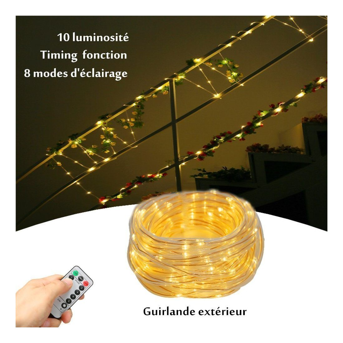 glime 10m tube lumineux ext rieur t l commande 100 led tanche ip65 guirlande lumineuses. Black Bedroom Furniture Sets. Home Design Ideas