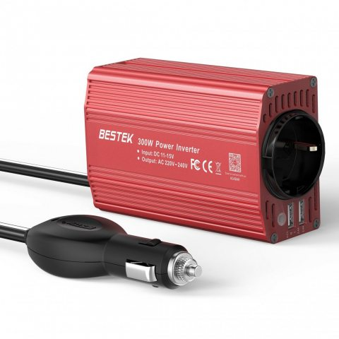 BESTEK Convertisseur Transformateur 300W 12V 220V Chargeur Allume-Cigare pour Camping-car - Rouge
