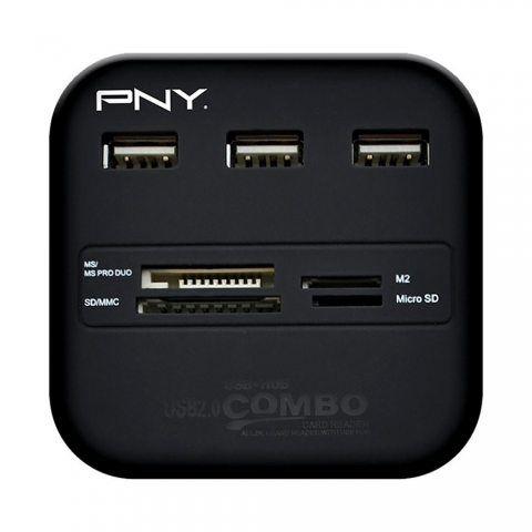 PNY Multi-slot USB Lecteur de carte mémoire externe 2.0 pour carte mémoire multimédia, carte SD, carte Micro SD