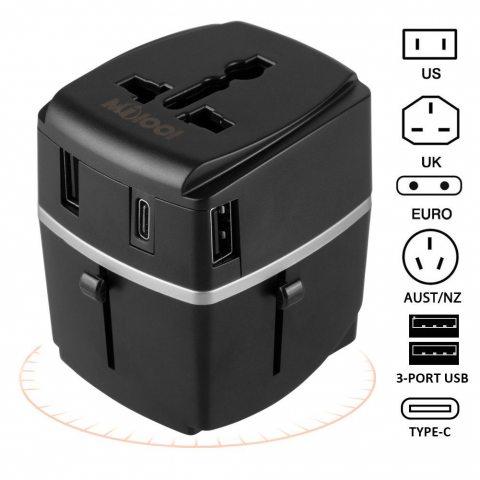 Adaptateur Voyage MILOOL avec 3 USB et 1 Type-c Port Adaptateur Universelle pour UK / EU / US / Adaptateur Prise tout-en-un M