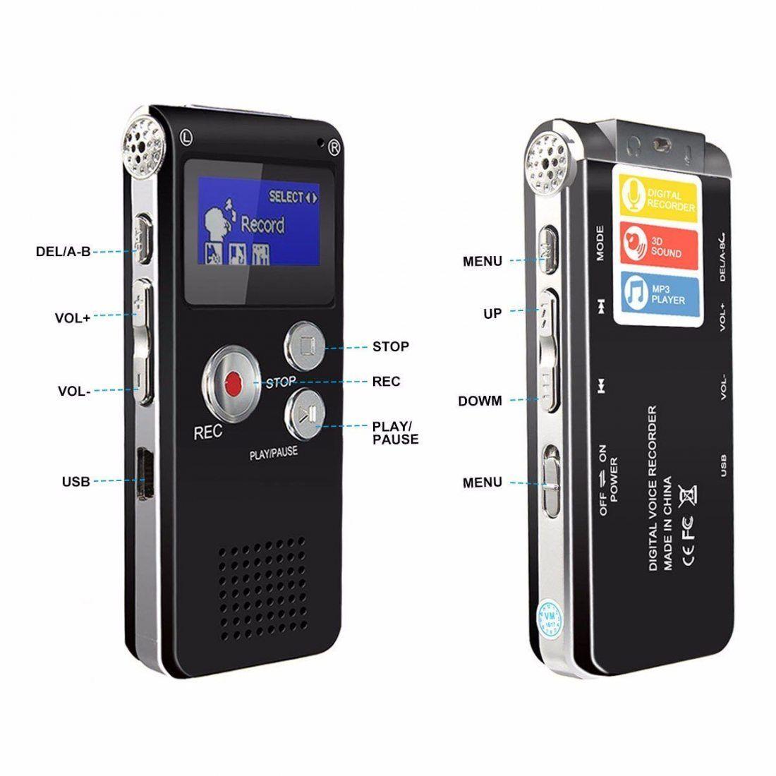 Dictaphone Numérique, ELEGIANT 8GB Enregistreur Vocal Audio Portable LCD Ecran Ultra-Mince Connexion PC Lecteur MP3 Mémoire I