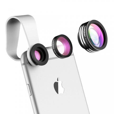 Mpow Universal 3 en 1 Kit de Lentille de caméra Objectifs professionnel fish-eye à 180° + 0.65X Objectif grand angle + 10X Ob