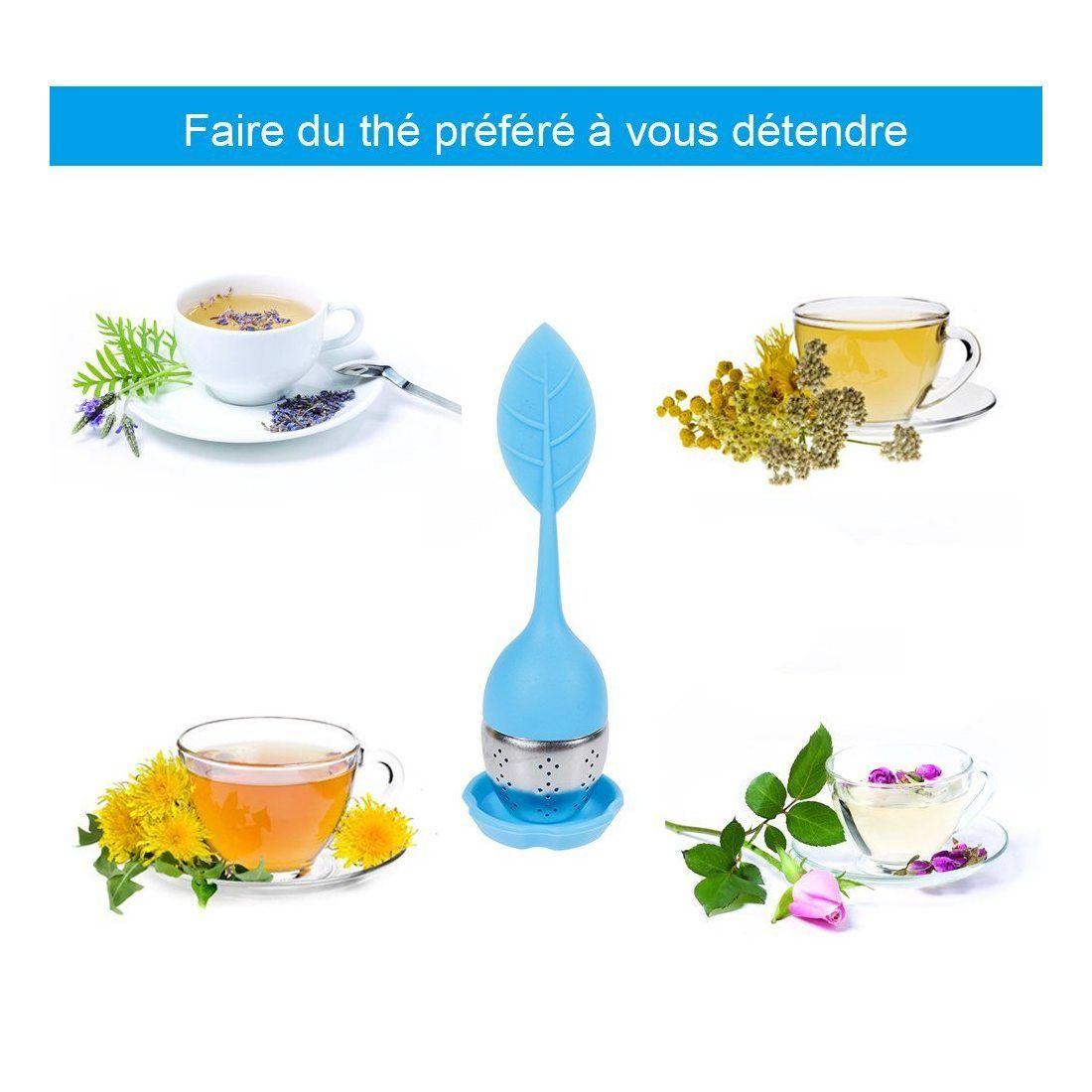 Anpro 5PCS Ensemble de Infuseur de Thé Silicone Diffuseur Boule à Thé En Acier Inox Filtre à Thé Diffuseur à Thé Avec Soucoup