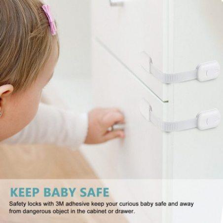 Bloque Porte Bébé Verrouillage Sécurité - [Lot de 6] Serrures Verrous Loquets de Sécurité Pour Bébé et Enfants Sur Placard, A