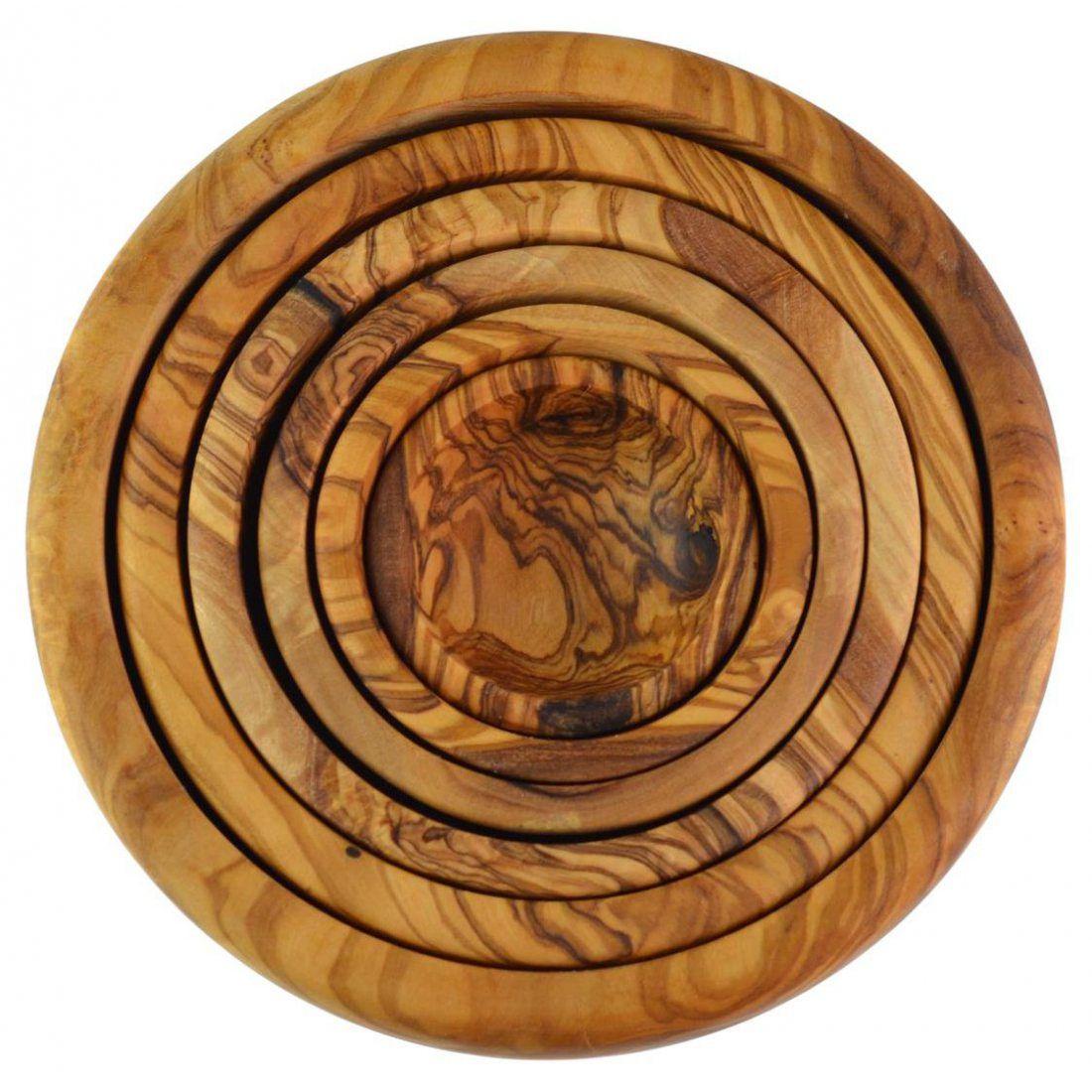 Bols gigognes en bois d'olivier, lot de 6, grain/naturel