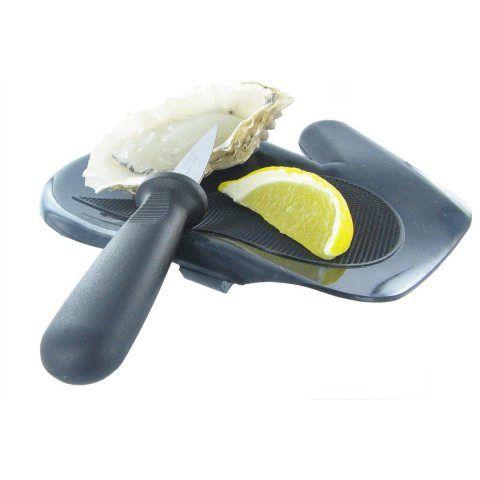 De Buyer 4682.11 Moufle de Protection à Huitre Gaucher Noir Plastique 19,5 x 16 x 1,8 cm