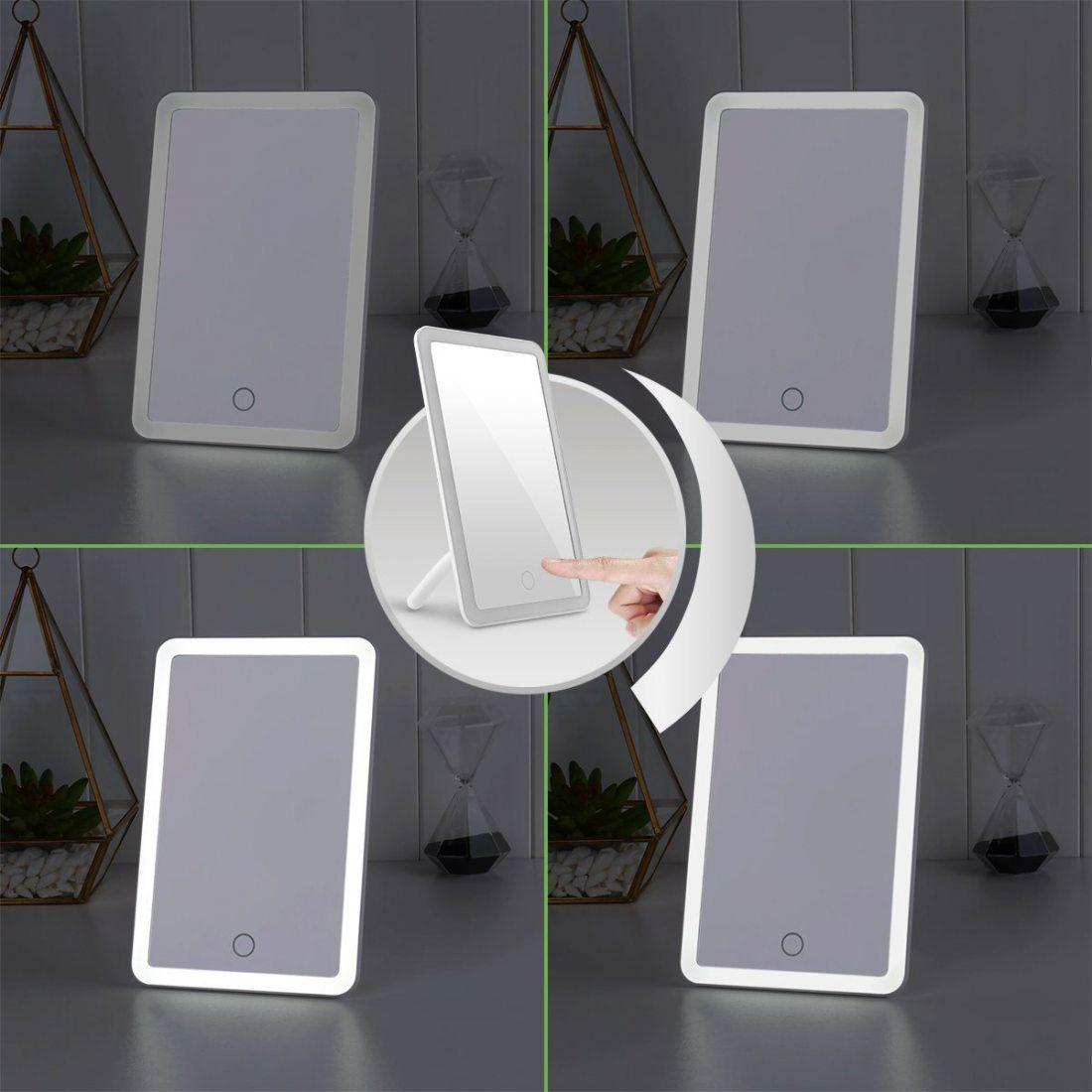 LE Miroir Lumineux LED, Miroir de Poche, Tactile, Rechargeable USB 600mAh, Luminosité Réglable 5500K, Esthétique pour Maquill