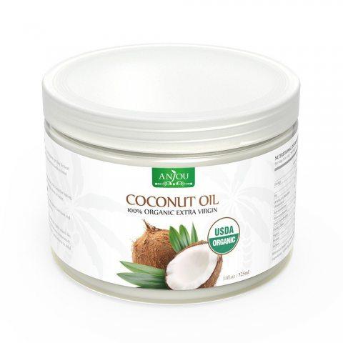 Huile de Coco Anjou Vierge, Pressée à Froid et Non Raffiné, Certifiée USDA, Coconut Oil Polyvalent pour Cheveux, Peau, Cuisin