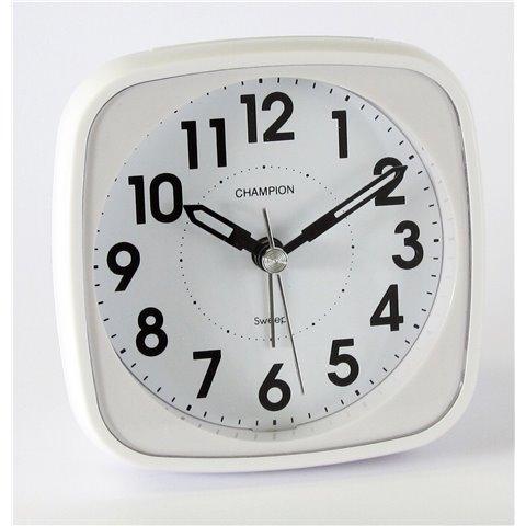 Champion Réveille-matin Mouvement à quartz et trotteuse silencieuse Design classique Blanc