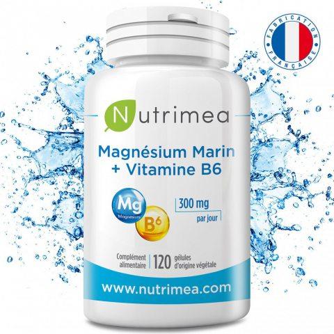 Nutrimea Magnésium Marin + Vitamine B6 - 300 mg / jour - 120 gél d'origine végétales jusqu'à 4 mois de cure - Fabrication