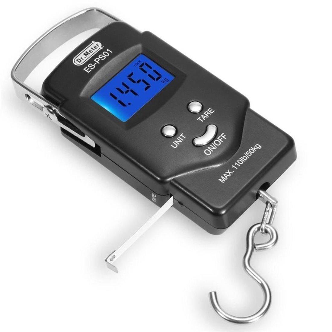 Dr.Meter ES-PS01 110lb/50kg Equilibre électronique Pêche numérique Échelle de crochet de colis postaux avec ruban à mesurer,