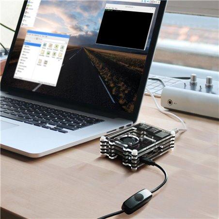 Smraza Boitier pour Raspberry Pi 3 Model B, avec 5V/2.5A Alimentation USB avec Interrupteur On Off, 3 Dissipateurs Thermiques
