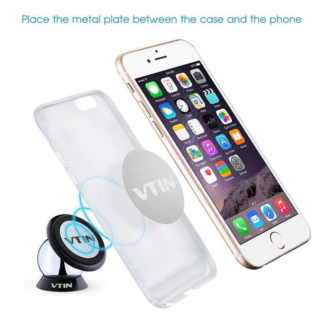 VTIN 360 Degrés Mini Support Magnétique Rotatif Support Collant de Dashboard pour iPhone 7 iPhone 7Plus iPhone SE 6S 6S Plus