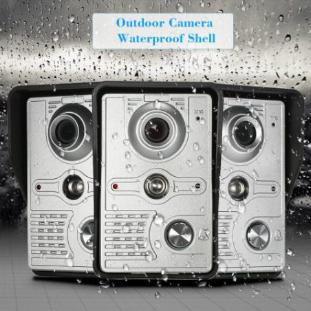 OWSOO Sonnette Vidéo Étanche de Vision Nocturne Infrarouge, 7 pouces/Écran Tactile Filaire, 1 Unité Intérieure WIFI +1 Unité