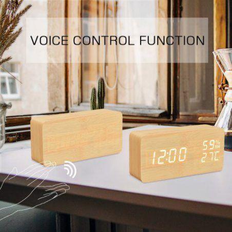 FiBiSonic Réveil Matin Alarm Clock Horloge Bois Réveil LED Horloge Numerique de Température Humidité Calendrier Réveil Digi