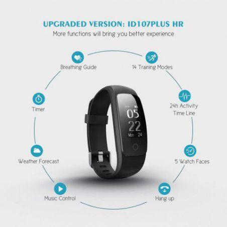 Sochange Id107Plus HR tracker de fitness, [Version améliorée] Mpow moniteur de fréquence cardiaque Smart Bracelet tracker d'