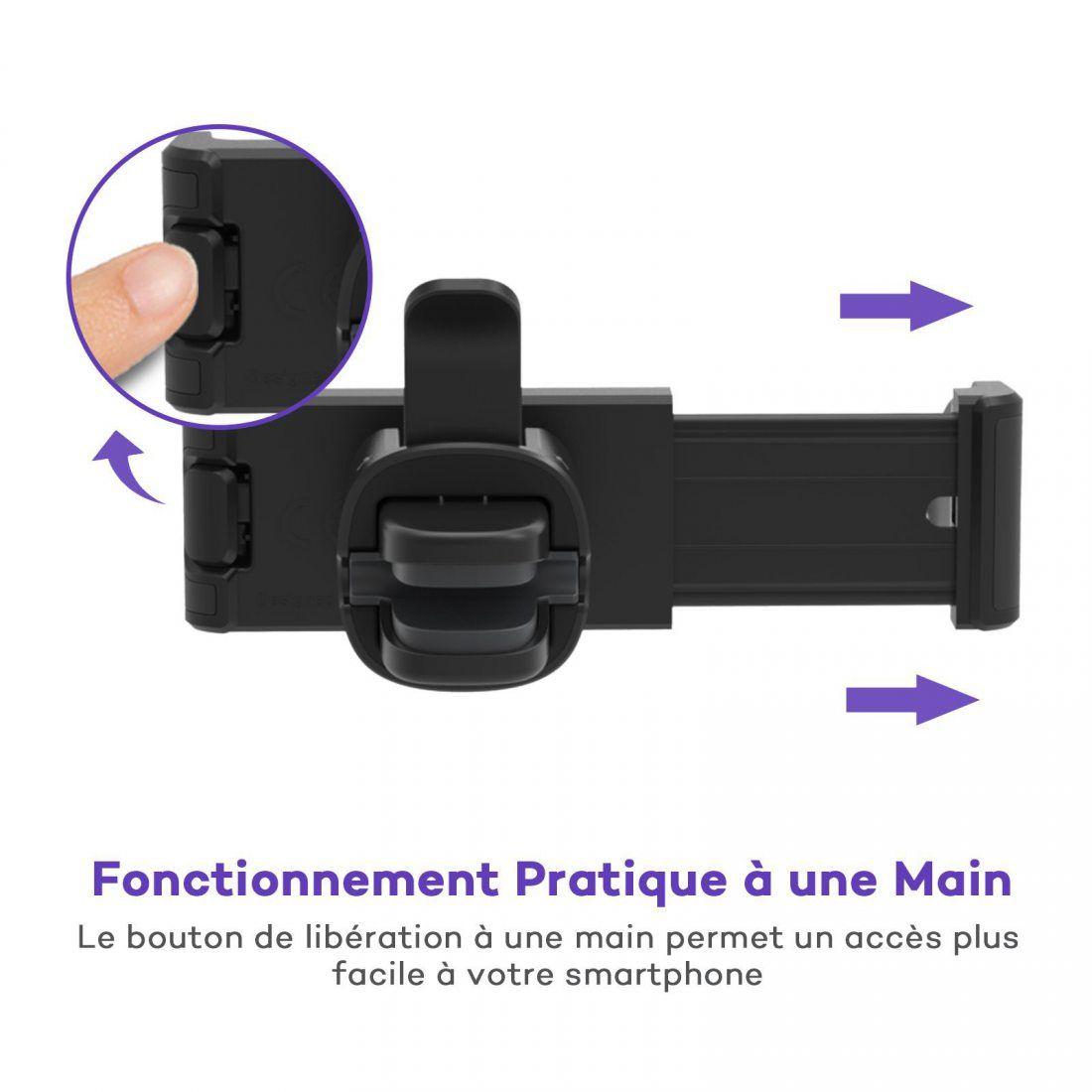 VAVA Support Téléphone Voiture Universel à Grille d'aération Pinces à Tampons de Silicone pour iPhone X / 8/8 Plus / 7s / 7 /