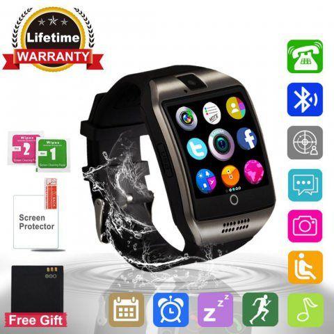 Montre Connectée, Bluetooth Sport Etanche Smartwatch Soutien SIM/TF Carte avec Caméra Ecran Tactile Pédomètre Moniteur de Som